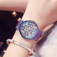 2017 New Arrival Fashion Unique Watches Women Rhinestone Dial Casual Colorful Stainless Steel Watchband 20mm Woman