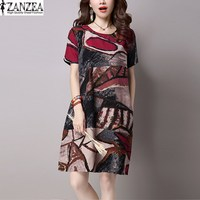ZANZEA Women Vintage O Neck Short Sleeve Tunic Baggy Shirt Dress Summer Female Floral Printed Cotton