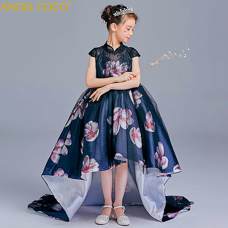 Chinese Style Girl Easter Princess Dress Trailing Flower Pompon Child Show Beauty Pageant Evening Dress Robe De Soiree Ball GownChinese Style Girl Easter Princess Dress Trailing Flower Pompon Child Show Beauty Pageant Evening Dress Robe De Soiree Ball Gown