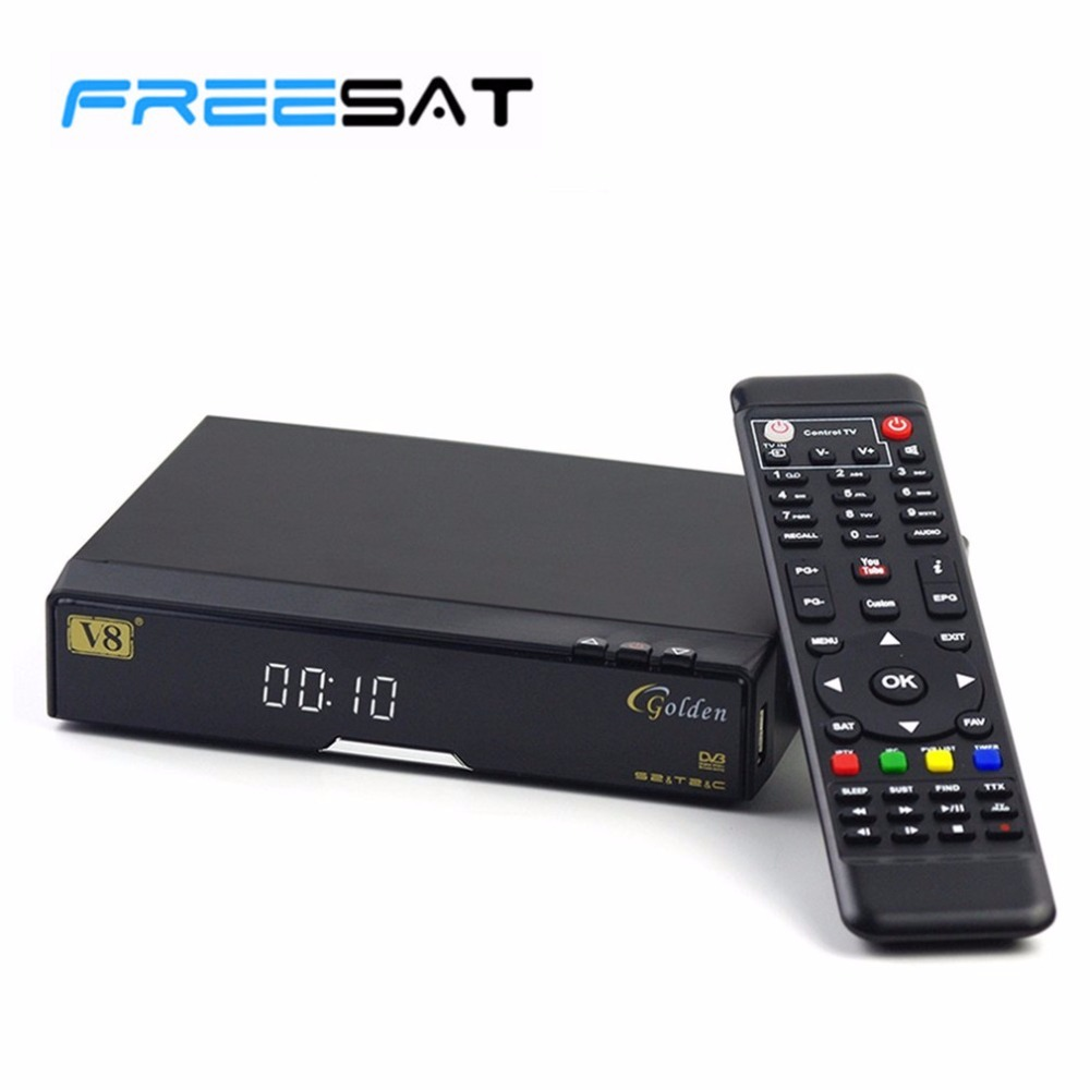 Genuine Freesat V8 Golden & USB Wifi DVB-S2 + T2 +C Satellite TV Combo Receiver Support PowerVu Biss Key Cccamd Newcamd USB Wifi de it es channels dvb s s2 satellite fta lines 1 year cccam clines newcamd usb wifi satellite tv receiver for free shipping