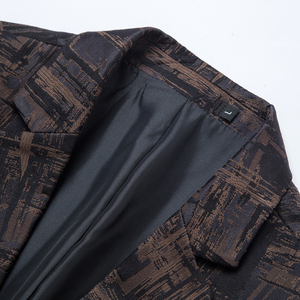 Image 5 - 2019 New Autumn Winter Mens Classic Leopard Print Slim Fit Blazers Male Single Button Casual Business Suit Jacket Wine red Khaki