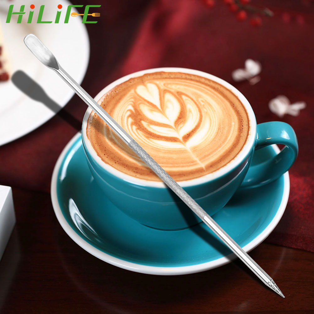 HILIFE 1PC Pull Flower Pin Holder Coffee Carving Needle Stainless Steel Coffee Tool Coffee Art Needles Coffeeware