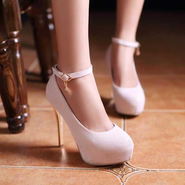 ФОТО 2015 Concise Buckle Rhinestone Thin High Heels Round Toe Platform 3 Colors Pumps Women Dress Outdoor Shopping Shoes