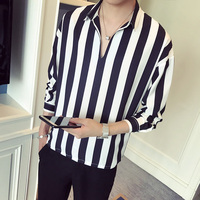 Quality Autumn New Striped Men Shirts Brand Loose Turn Down Collar Male Shirt Long Sleeve Casual Business Men's Shirts Promotion