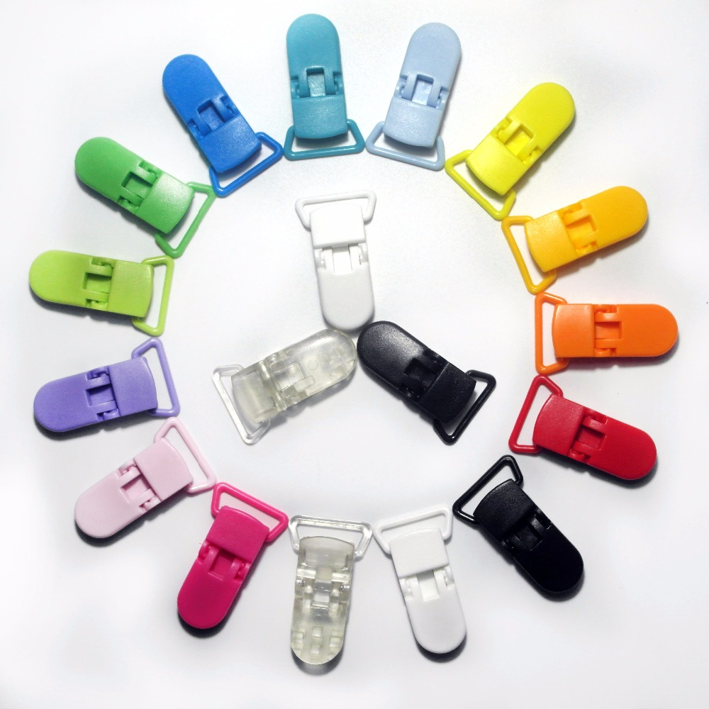 10Pcs Mixed Color Plastic Heart Pacifier Clip Dummy Holder Metal Suspender Clips