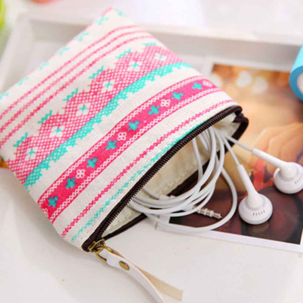 Fashion Hot cotton Zipper Pencil Canvas Case Cute Portable Key Coin Purse Makeup Bag A# student navy canvas pen pencil case high quality stripes coin purse fashion zipper pouch bag new estojo de lapis y
