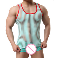 e923ebe695 Man Tank Tops Brand Sexy Mesh Fitness Vest Man Striped Sheer Tops See  Through Male Tank. US  14.09. Ver Oferta. Homens musculação Regatas ...
