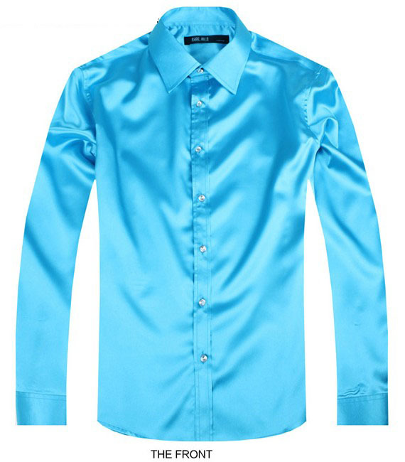 2017 Sky blue Luxury groom shirt mens long sleeve wedding shirt party Artificial silk dress shirt M-3XL 21 colors FZS30