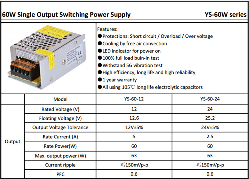 Smps 60w 12v 5a Switching Power Supply Driver 220v 230v Ac Dc