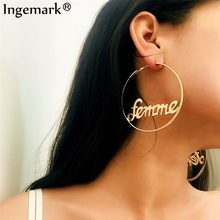 Ingemark Big Hoop Earrings Sexy Ear Accessories Hyperbole Big Circle Femme Baby Letter Gold Color Large Earrings 2019 Brinco(China)