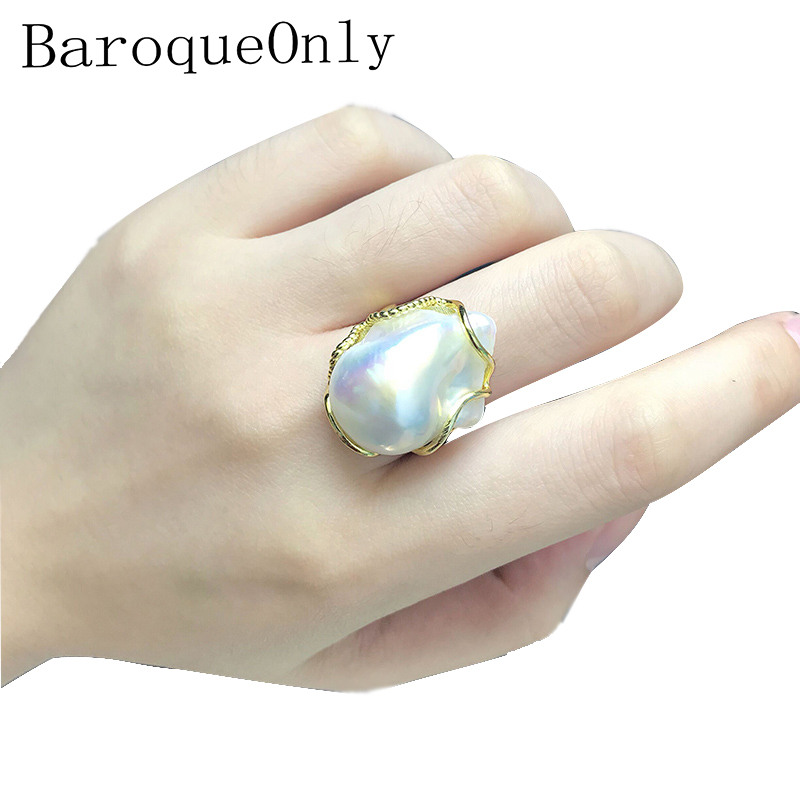 BaroqueOnly High Luster White Baroque Pearl Adjustable Rings 100% Natural Big Pearls Handmade Jewelry 925 Silver Sterling RZ