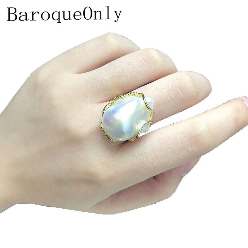 BaroqueOnly haute brillance blanc baroque perle réglable anneaux 100% naturel grandes perles bijoux faits à la main 925 argent sterling RZ