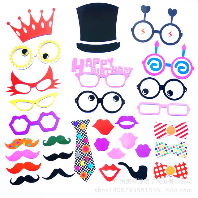 31pcs Cute Wedding Party Birthday Christmas Decoration Accessories Event Supplies Red Tie Mask Photo Booth Prop