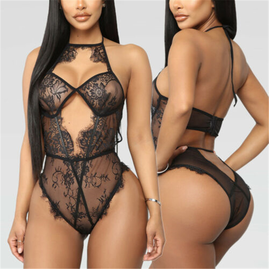 2019 Brand New Style Sexy  Lace Women's G-string Solid Babydoll Bodysuits Black