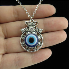 Q2097 Free Shipping Silver Alloy Women Retro Filigree Mirro Blue Acrylic Evil Eye Pendant Collar Chunky Necklace 18""