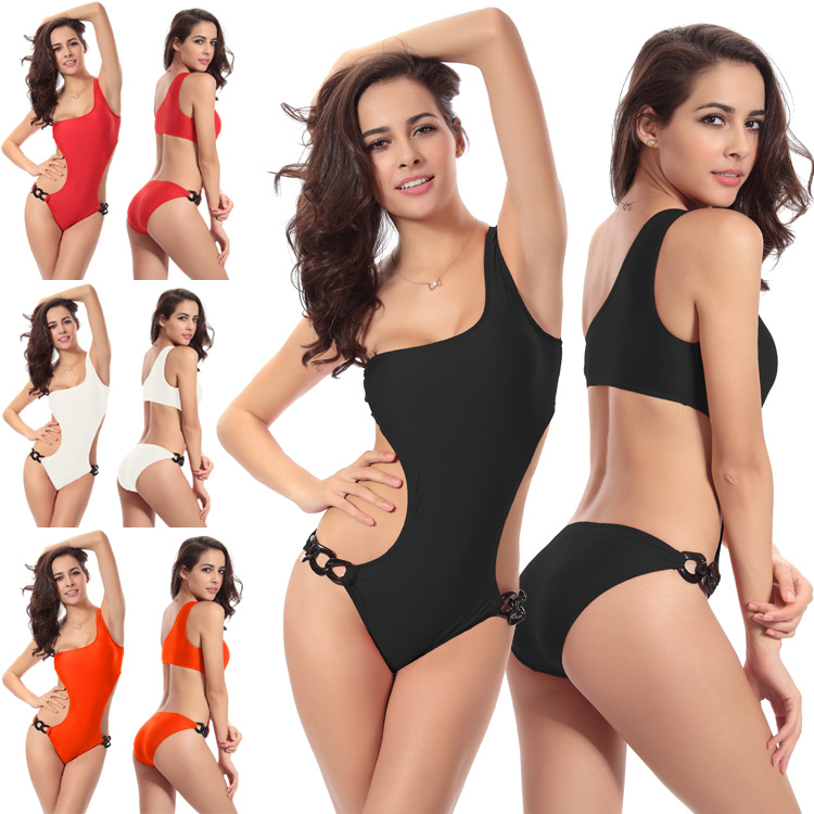Women Single shoulder One piece swimsuits Gather push up sexy bikini swimwear with unique ring on