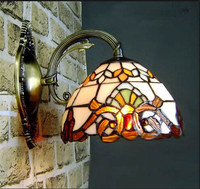 Tiffany stained glass stitching design wall lamp retro corridor decoration plating green bronze LED E27 bulb indoor lighting