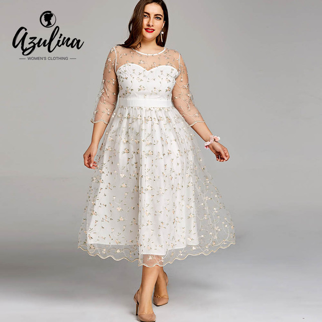 3abf528787da1 Aliexpress.com   Buy AZULINA Plus Size Embroidery Lace Chiffon Floral Midi  Tulle Dress Elegant Sheer Evening Party Dresses Big Size 5XL Women Clothes  ...