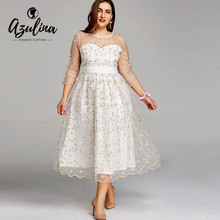 AZULINA плюс Размеры вышивка кружева шифона миди с цветочным принтом платье с фатиновой юбкой Элегантный Sheer Вечеринка платья большой Размеры 5XL женская одежда