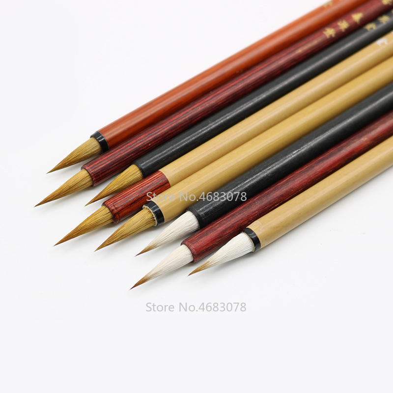 7Pcs/Set Hot Sale Chinese Calligraphy Brushes Pen Woolen And Weasel Hair Small Regular Script Writing Brushes