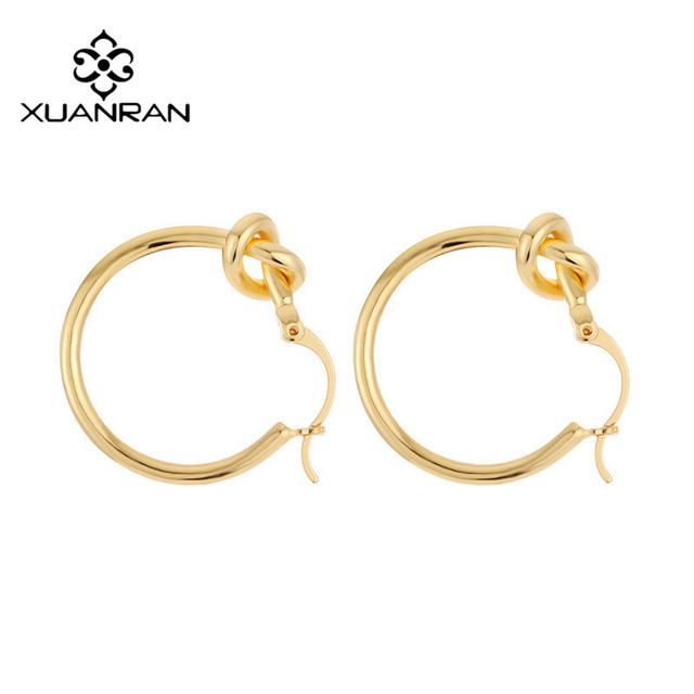 Xuanran Creative Irregular Circle Hoop Earring 2 Types Knot Gold Color Retro Clic Metal Ear