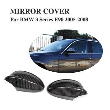 الكربون الألياف استبدال الجانب الباب مراجعة مرآة قبعات ل BMW 3 سلسلة E90 05-08 (لا يصلح ل m3) الجناح أغطية مرايا