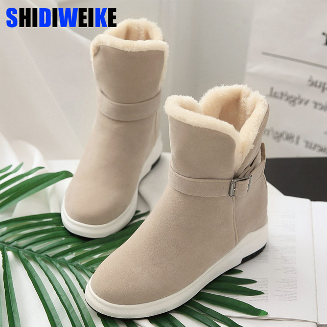 Women Half Boots Winter Short Boot Warm Shoe Flat Botas Mujer Snow Boots  Buckle Fashion Round Toe Shoes Boots n026 6bfc3f53c557