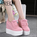 2016 new autumn canvas wedges shoes platform casual shoes lacing women's ultra high heels shoes