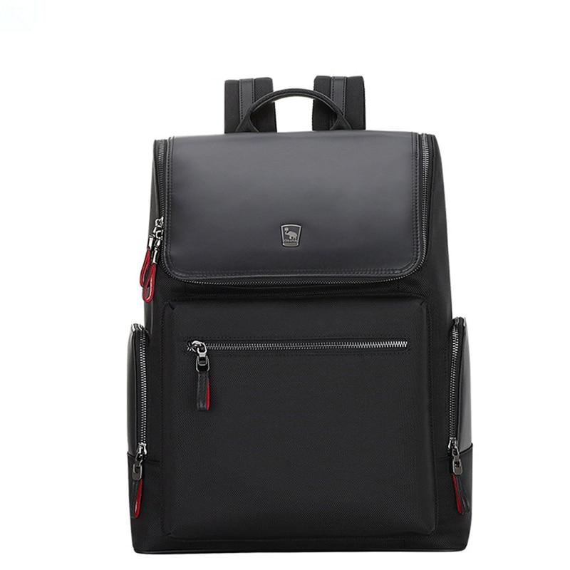 Oiwas Black Men Women Nylon Backpack Casual Solid Color Business Bag Travel School Laptop Storage Shoulder Bag With Zipper