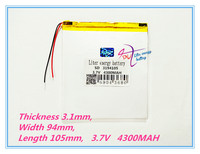 3194105 3 7V 4300mAh 3095105 Rechargeable Li Polymer Li Ion Battery For Tablet PC Onda V820W