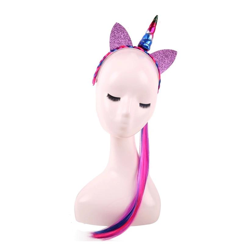 Rainbow Color Ponytail Headbands Glitter Ears Kids Girls Princess Braid Wig Hairbands Hair Accessories CW7114