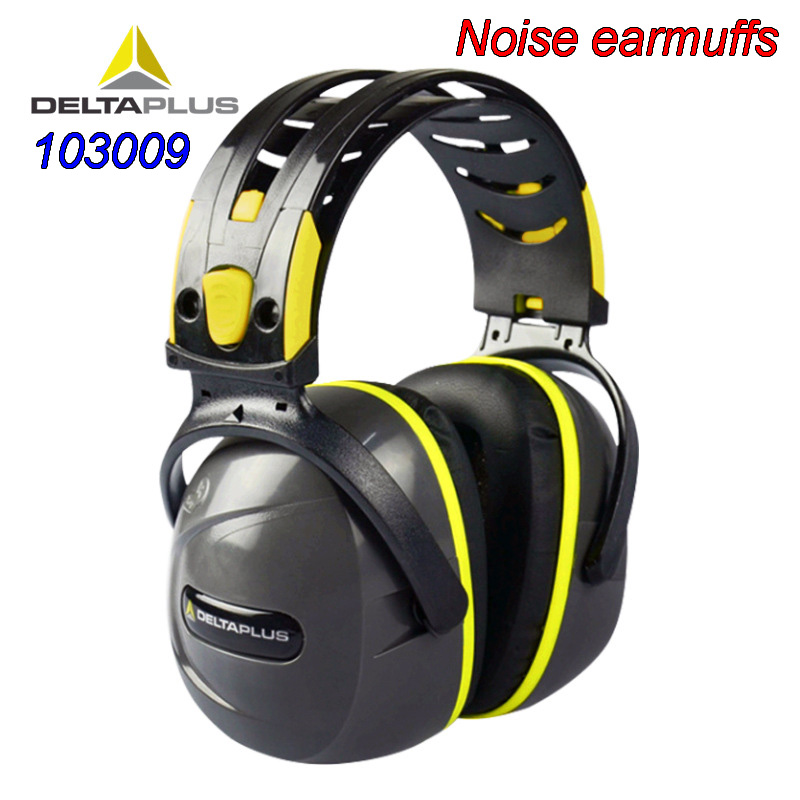 DELTAPLUS 103009 Noise Earmuffs ABS Shell Lining Synthetic Foam Cotton Noise-proof Earmuffs SNR 33 Safety Noise Earmuffs