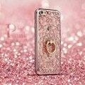 Роскошные Bling Мозаика Вырос Алмазные Телефон Случаях Крышка Для iPhone 5 5s SE 6 6 s 7 Plus Gold Кольцо Стенд Розовый Сияющий ТПУ Мягкая