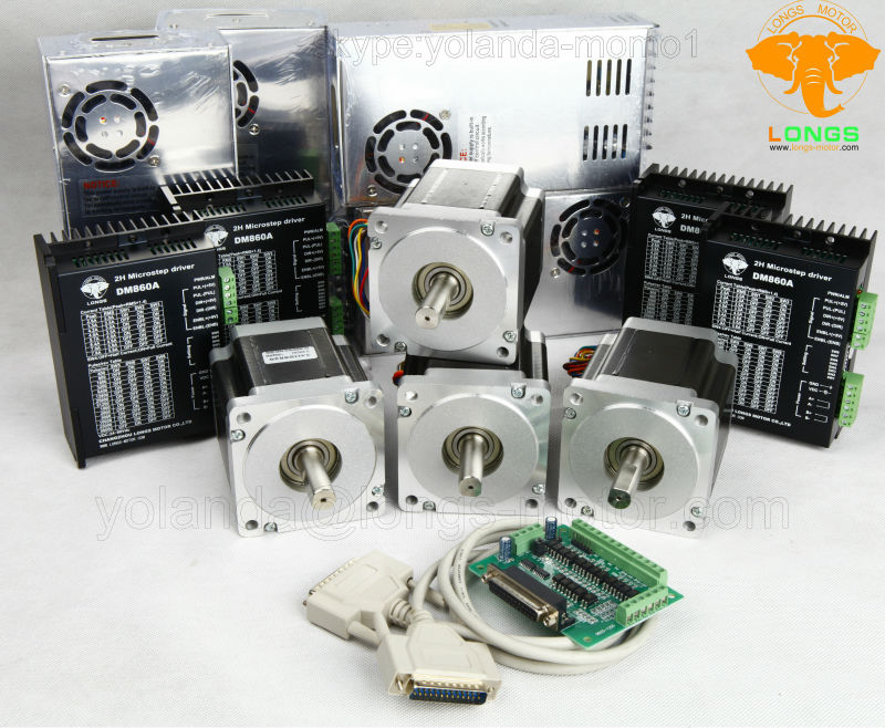 Stepper Motor 4Axis Nema34 34HST9805-37B2 2A 878oz.in Driver DM860A& Power CNC Router Engraving LONGS MOTOR Числовое программное управление