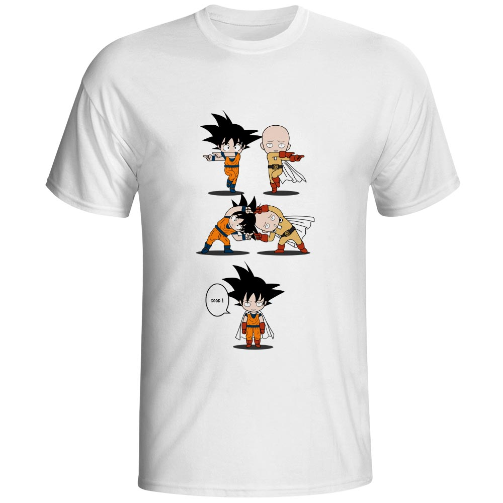 One Punch Saiyan   T     Shirt   Original Novelty Anime Design   T  -  shirt   Dragon Ball Crossover One Punch Man 100% Cotton White Tee