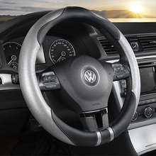 KKYSYELVA Universal Car Steering Wheel Cover Leather Steering-wheel Covers Auto wheels Interior Accessories