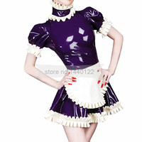 Latex Lolita Laced Dresses with Apron Cosplay Dress Costumes Size Custom Made BNLD249