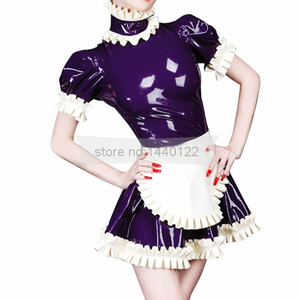 Vestidos de látex con encaje Lolita con delantal disfraz tamaño personalizado BNLD249