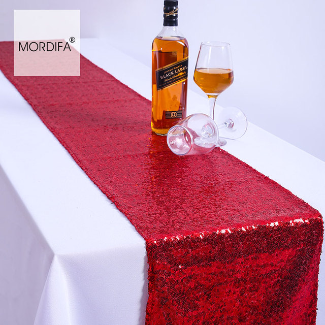 Merveilleux Cheap Red 30*275cm Sequin Table Runner Chinese New Year Christmas Table  Runners Modern Luxury Table Decorations Free Shipping