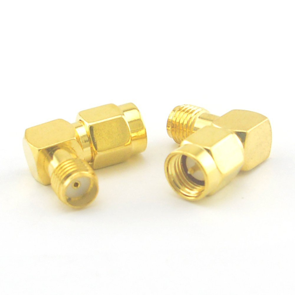 ALLISHOP 2Pcs SMA Adapter 90 Degree Right Angle SMA Male Plug To SMA Female Jack Connector Gold Plating Coaxial Connector 1pc adapter n plug male nickel plating to sma female gold plating jack rf connector straight