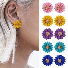 HOCOLE 2019 Fashion Flower Stud Earrings For Women Korean Style Sweet Metal Earring Female Summer Beach Party Jewelry