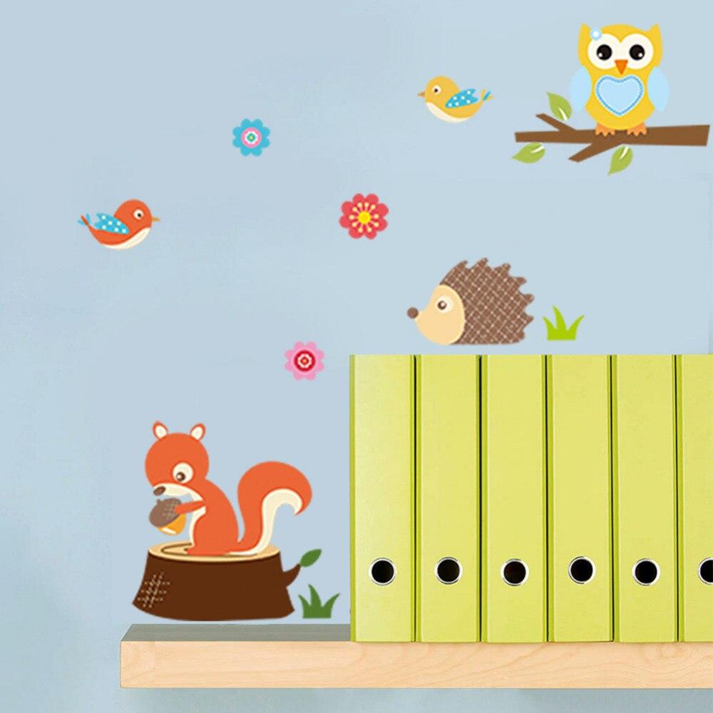 Cute Animals Wall Sticker Zoo Tiger Owl Turtle Tree Forest Vinyl Art ...