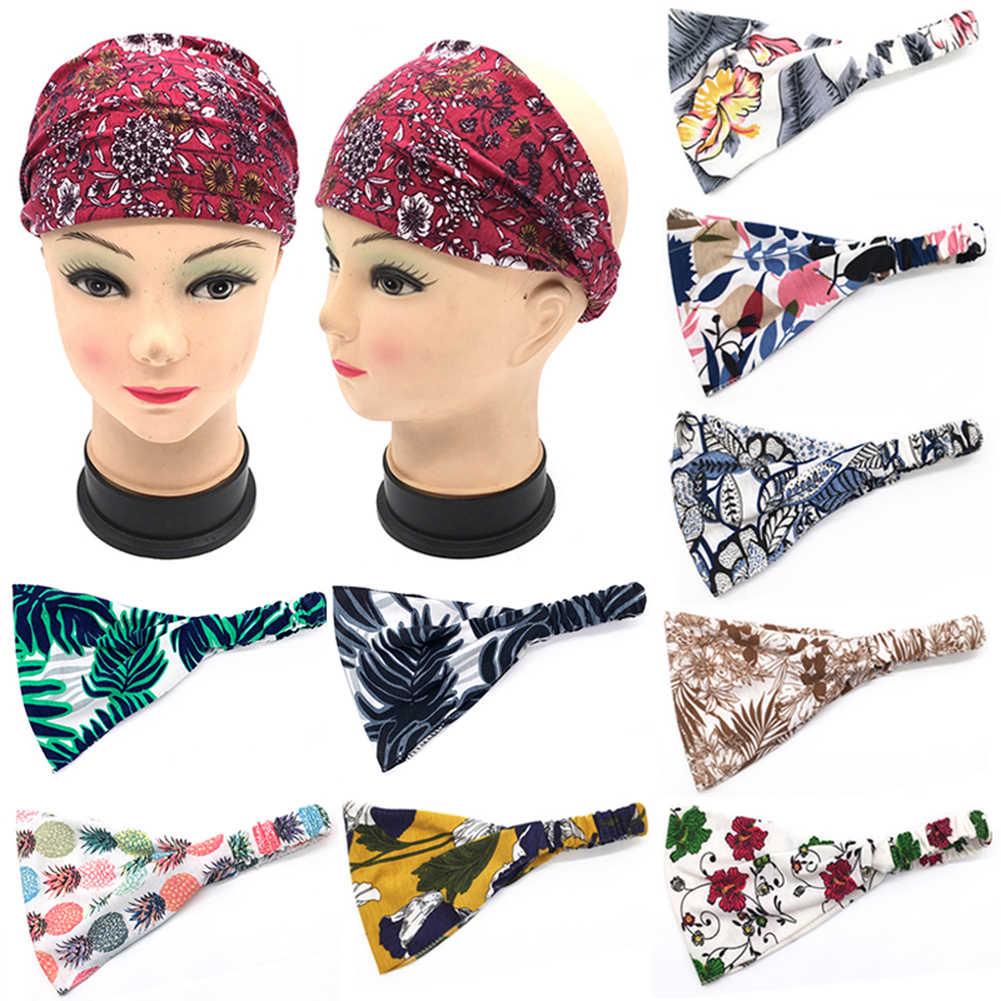 ボヘミアボヘミアンワイド綿ストレッチ女性ヘッドバンドヘッドピース Headwrap ターバン帽子包帯ヘアバンドバンダナ
