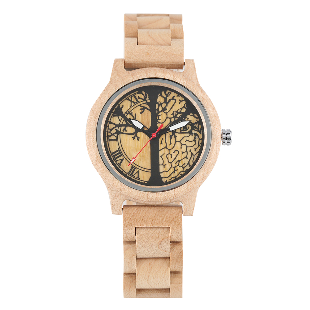 Womens Watch Wood Quartz Natural Wristwatch Luminous Full Maple Tree of Life Pattern Dial