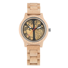 Women's Watch Wood Quartz Watch Natural Wood Wristwatch Luminous Full Maple Tree of Life Pattern Dial цена