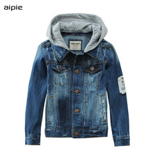Neue Ankunft 2019 Frühling jungen Jacken Mode Design Denim 100% Baumwolle Kinder Mit Kapuze Mäntel Cothing