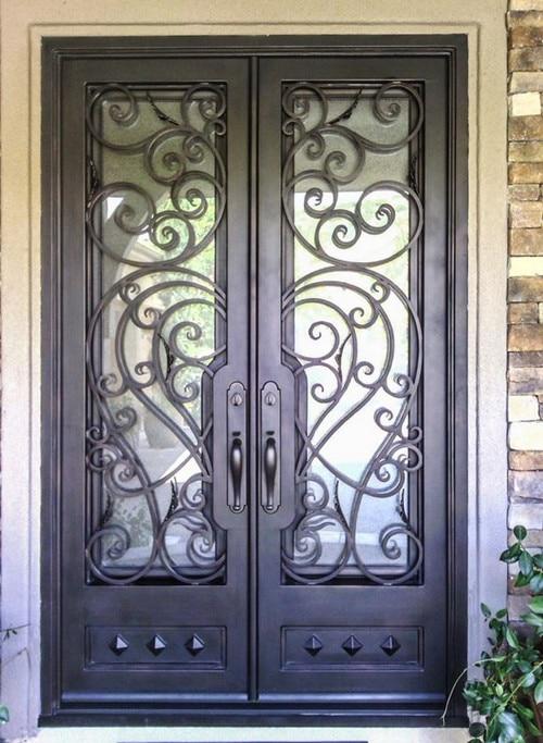 Hench 100% Steel Metal Iron  Wrought Iron Glass Door
