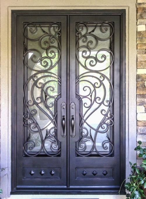 Custom Metal Doors Wrought Iron Glass Door
