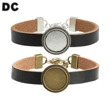 Black Leather Bracelets Bangle Cuff 18mm Round Antique Bronze/Silver Color Blank Cabochon Charms DIY Jewelry Accessories F5341