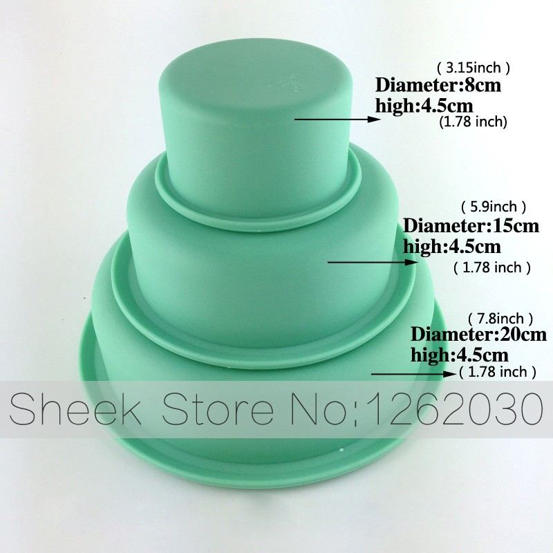 3 Layer Round Birthday Cake Pans Platinum Silicone Pizza Baking Chassis Free Shipping
